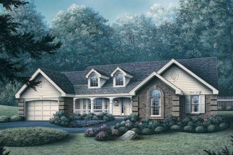 Traditional Style House Plan - 4 Beds 2 Baths 1791 Sq/Ft Plan #57-174 Exterior - Front Elevation