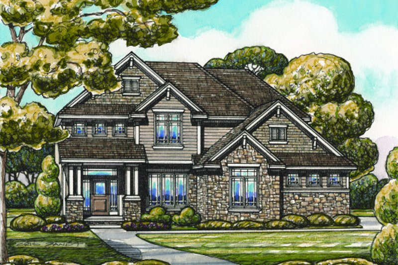 Bungalow Exterior - Front Elevation Plan #20-2094
