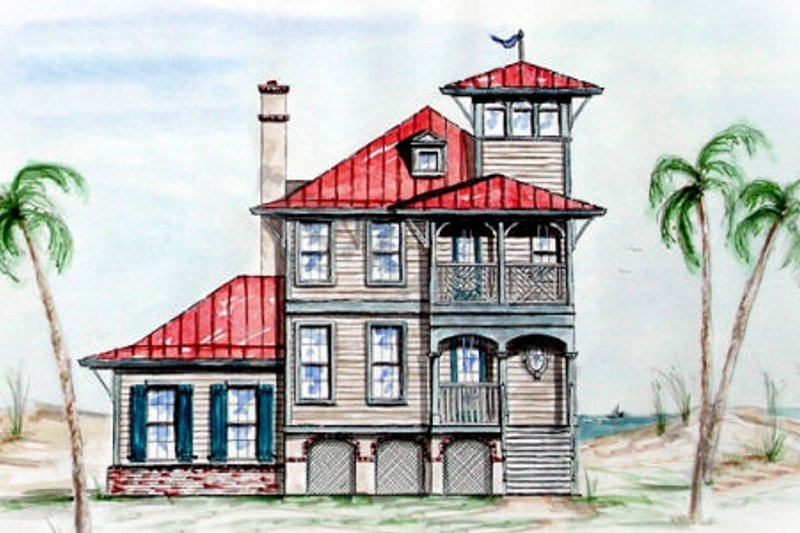 Beach Style House Plan - 2 Beds 2.5 Baths 1416 Sq/Ft Plan #54-120 Exterior - Front Elevation