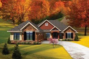 Ranch Exterior - Front Elevation Plan #70-1098