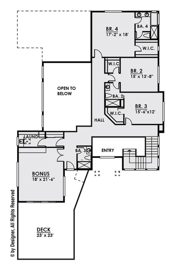 Contemporary Floor Plan - Upper Floor Plan Plan #1066-27