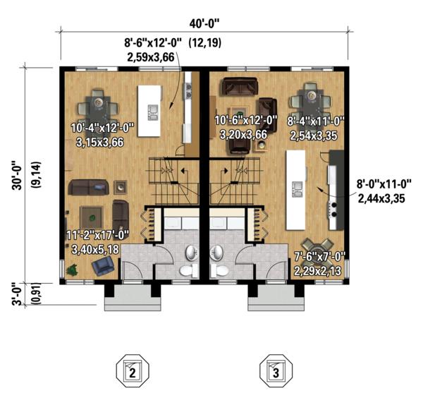 Contemporary Floor Plan - Main Floor Plan Plan #25-4378