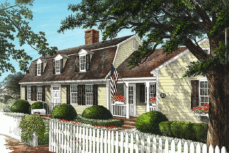 Colonial Style House Plan - 4 Beds 3 Baths 2848 Sq/Ft Plan #137-193 Exterior - Front Elevation