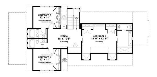 Beach Floor Plan - Upper Floor Plan Plan #443-14