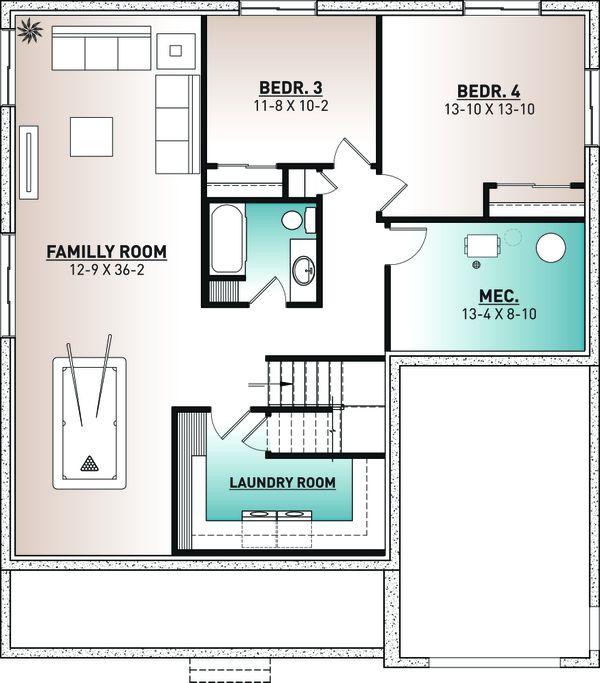 Home Plan - Farmhouse Floor Plan - Lower Floor Plan #23-2746