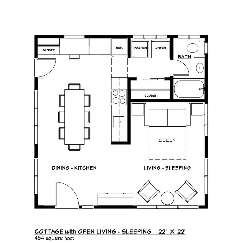 Modern style house plan 1 beds 1 baths 484 sq ft plan 917