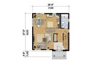 Contemporary Style House Plan - 3 Beds 1 Baths 1366 Sq/Ft Plan #25-4328 Floor Plan - Main Floor Plan