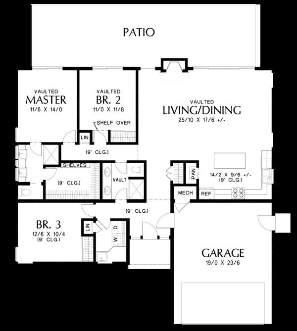 Contemporary Floor Plan - Main Floor Plan Plan #48-668