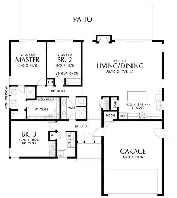 Contemporary Floor Plan - Main Floor Plan Plan #48-668