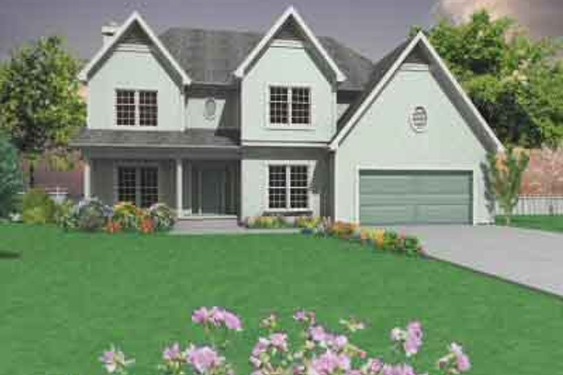 Traditional Style House Plan - 4 Beds 2.5 Baths 2321 Sq/Ft Plan #6-107 Exterior - Front Elevation