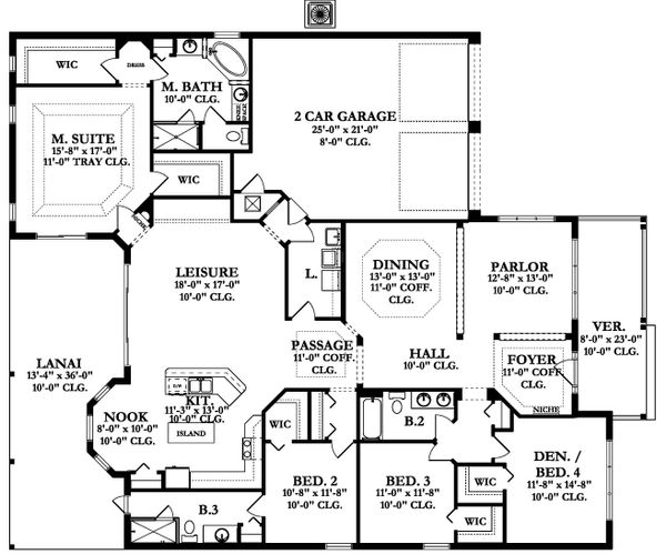 Ranch Floor Plan - Main Floor Plan Plan #1058-167