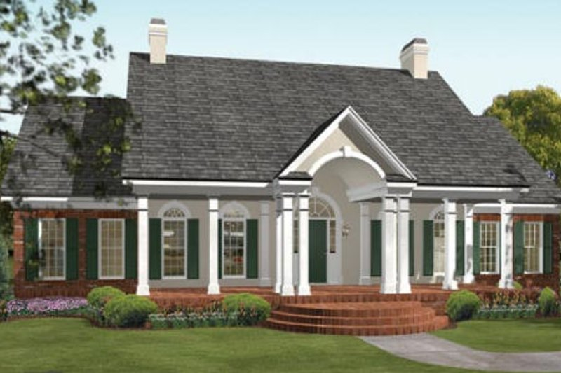 Southern Exterior - Front Elevation Plan #406-104 - Houseplans.com
