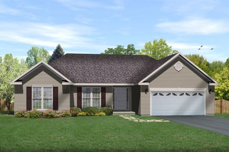 Traditional Style House Plan - 3 Beds 2 Baths 1554 Sq/Ft Plan #22-465 Exterior - Front Elevation