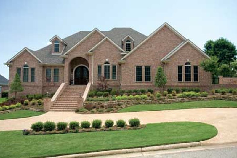 European Style House Plan - 4 Beds 4.5 Baths 4510 Sq/Ft Plan #17-1171 Exterior - Front Elevation