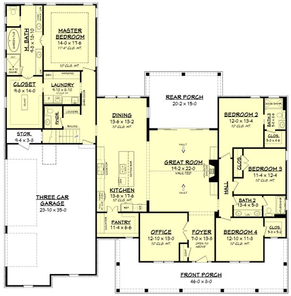Farmhouse Floor Plan - Main Floor Plan Plan #430-175