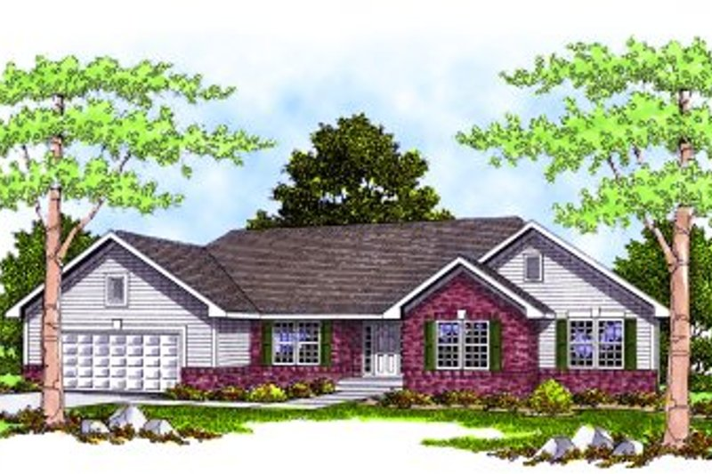 Traditional Style House Plan - 3 Beds 2.5 Baths 1859 Sq/Ft Plan #70-273 Exterior - Front Elevation