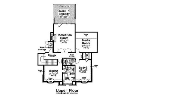 European Floor Plan - Upper Floor Plan Plan #310-1301