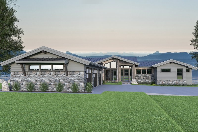 Home Plan - Contemporary Exterior - Front Elevation Plan #1070-88