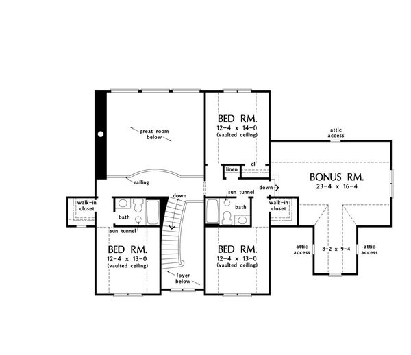 Craftsman Floor Plan - Upper Floor Plan Plan #929-60
