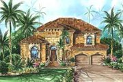 Mediterranean Style House Plan - 4 Beds 3.5 Baths 3051 Sq/Ft Plan #27-292 Exterior - Front Elevation