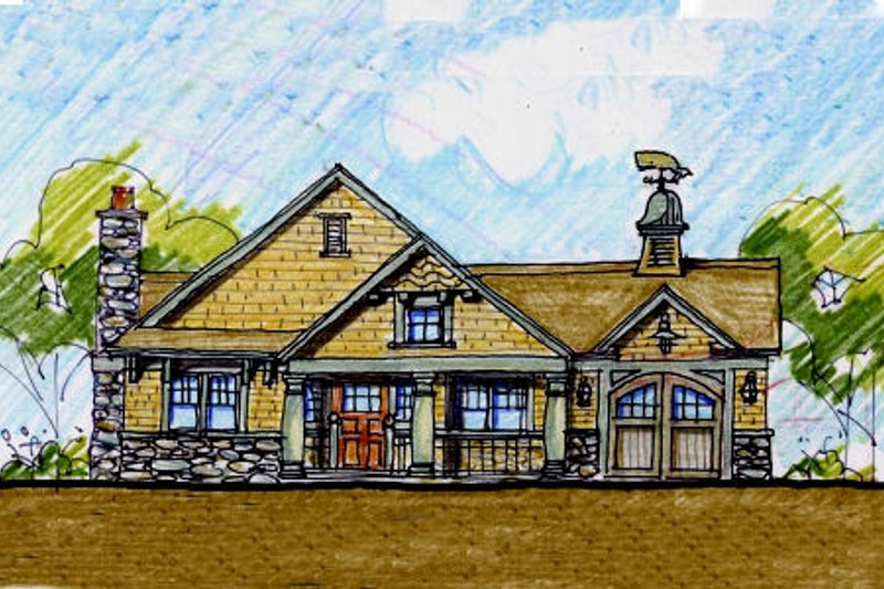 Craftsman Style House Plan - 4 Beds 3.5 Baths 3249 Sq/Ft Plan #440-5 Exterior - Front Elevation