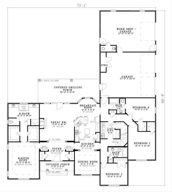 European Floor Plan - Main Floor Plan Plan #17-649