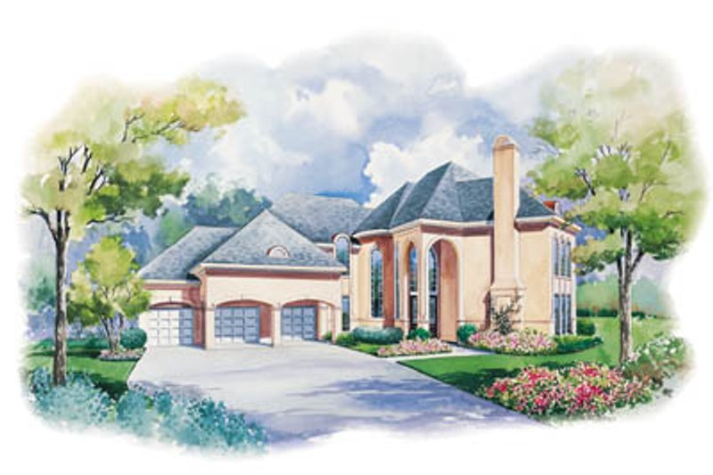 European Style House Plan - 4 Beds 3.5 Baths 3513 Sq/Ft Plan #20-1138 Exterior - Front Elevation
