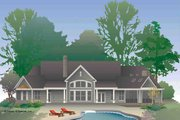 European Style House Plan - 4 Beds 3 Baths 2950 Sq/Ft Plan #929-29 Exterior - Rear Elevation