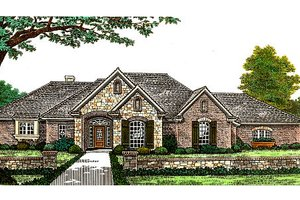 European Exterior - Front Elevation Plan #310-309