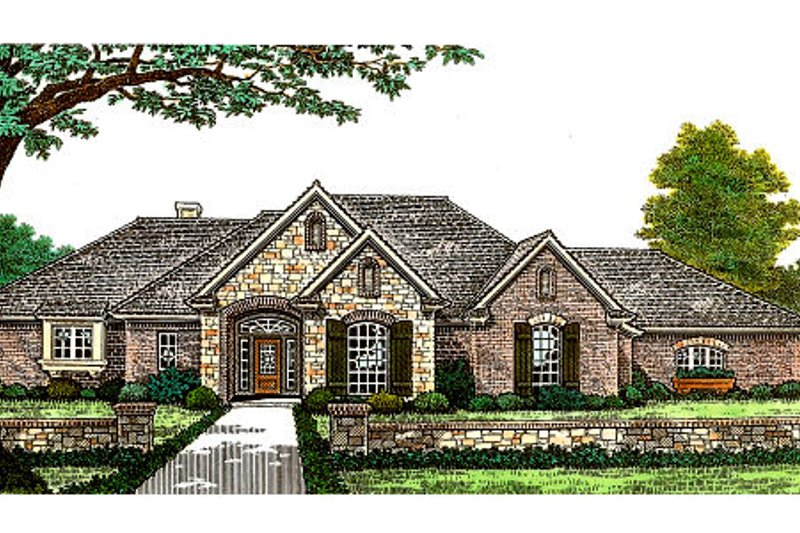 European Style House Plan - 3 Beds 2.5 Baths 2053 Sq/Ft Plan #310-309 Exterior - Front Elevation