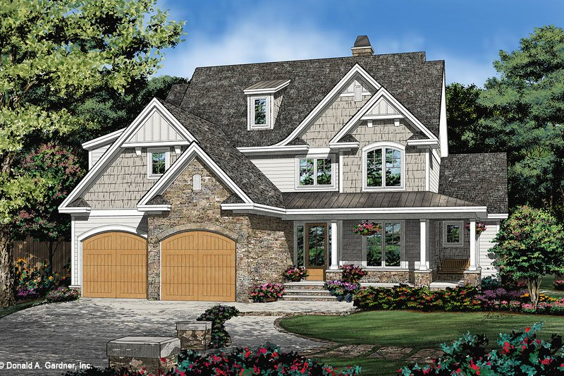 Cottage Style House Plan - 4 Beds 3 Baths 2458 Sq/Ft Plan #929-1108 Exterior - Front Elevation