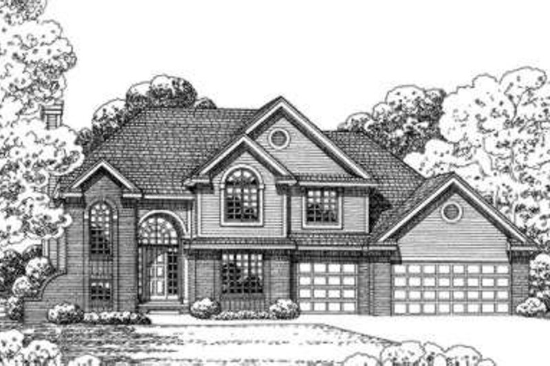 Traditional Style House Plan - 4 Beds 3 Baths 2874 Sq/Ft Plan #20-1648 Exterior - Front Elevation