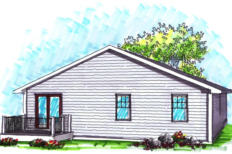 Ranch Exterior - Rear Elevation Plan #70-1017 - Houseplans.com