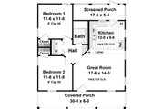 Country Style House Plan - 2 Beds 1 Baths 1297 Sq/Ft Plan #21-397 Floor Plan - Main Floor Plan