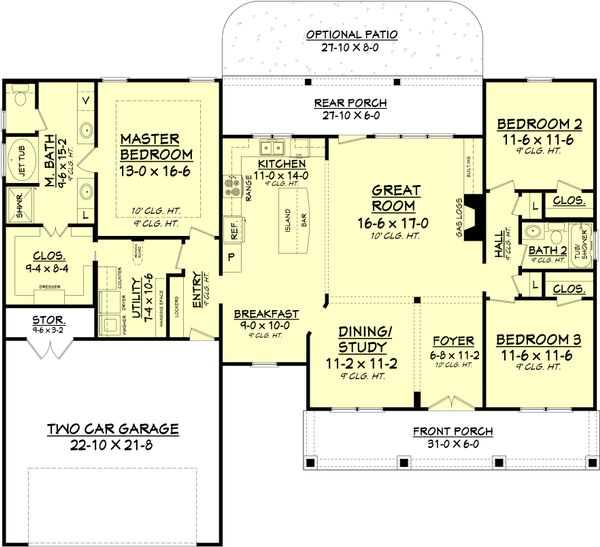 Country Floor Plan - Main Floor Plan Plan #430-83