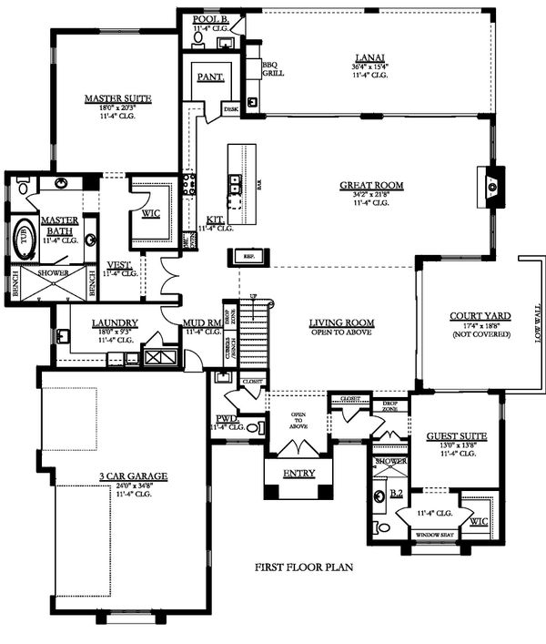 Contemporary Floor Plan - Main Floor Plan Plan #1058-181