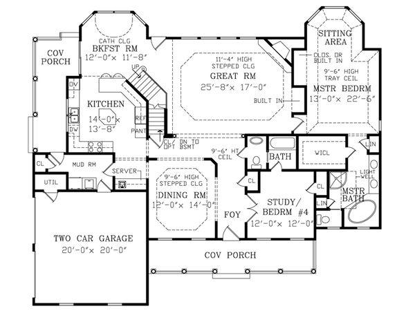 Southern Floor Plan - Main Floor Plan Plan #456-4