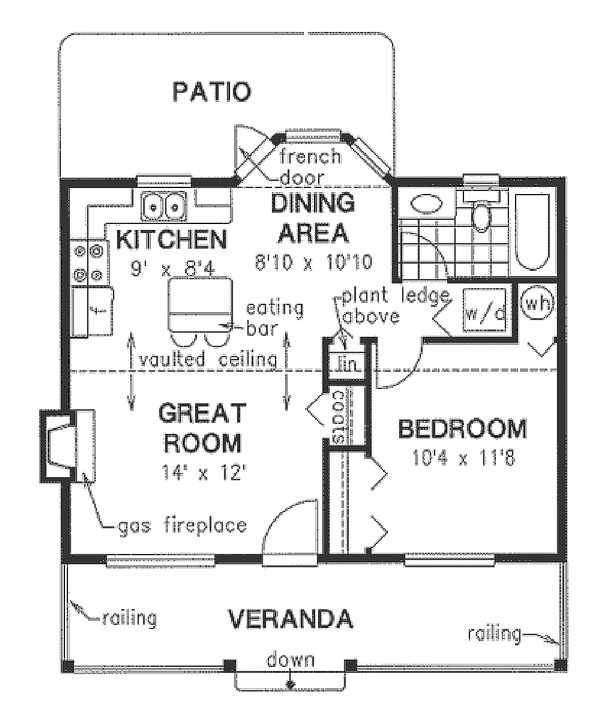 Cottage style home, bungalow style, main level floor plan
