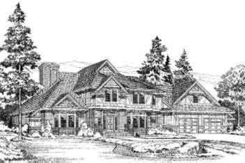 European Style House Plan - 3 Beds 2.5 Baths 2832 Sq/Ft Plan #312-141 Exterior - Front Elevation