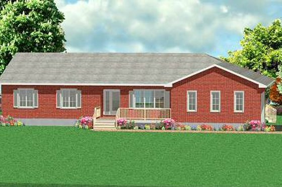 Ranch Exterior - Front Elevation Plan #414-112
