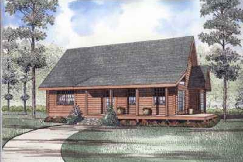 Log Style House Plan - 2 Beds 2 Baths 1940 Sq/Ft Plan #17-486 Exterior - Front Elevation
