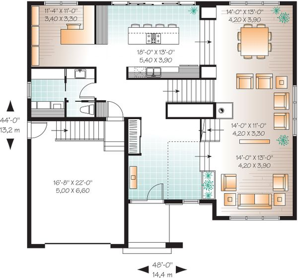 Main Floor Plan  - 3200 square foot Modern Home