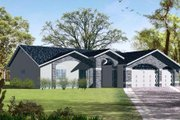 Adobe / Southwestern Style House Plan - 3 Beds 2 Baths 1660 Sq/Ft Plan #1-596 Exterior - Front Elevation