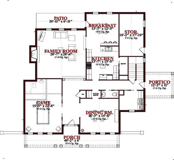 Traditional Floor Plan - Main Floor Plan Plan #63-261