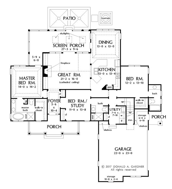 Craftsman Floor Plan - Main Floor Plan Plan #929-1058
