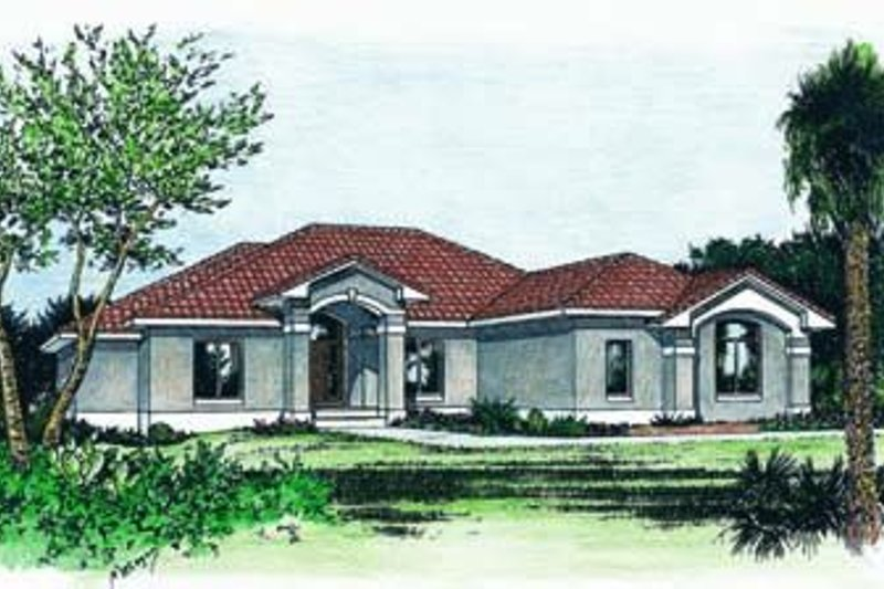 European Exterior - Front Elevation Plan #20-971