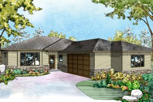 Ranch Exterior - Front Elevation Plan #124-927