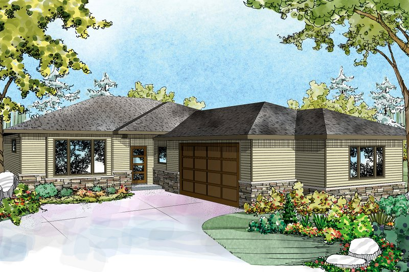 Architectural House Design - Ranch Exterior - Front Elevation Plan #124-927