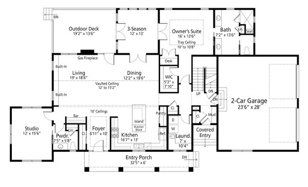 House Blueprint - Farmhouse Floor Plan - Main Floor Plan #938-109