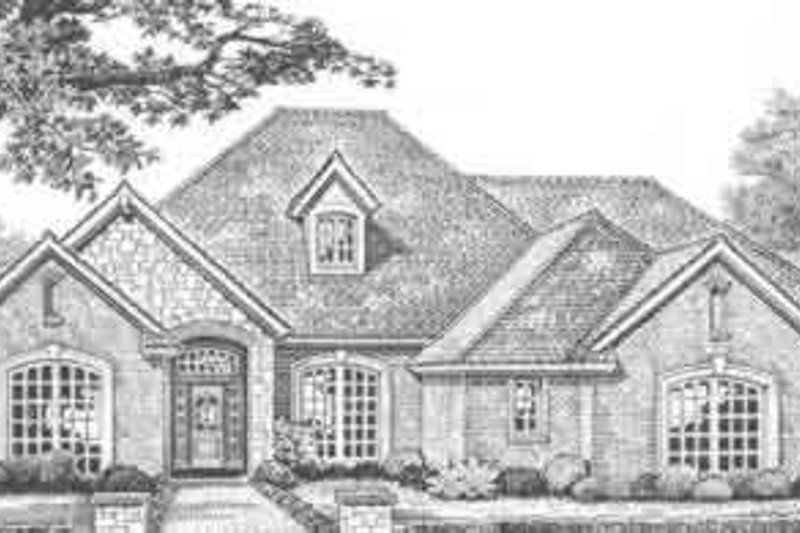European Style House Plan - 4 Beds 4 Baths 2883 Sq/Ft Plan #310-389 Exterior - Front Elevation